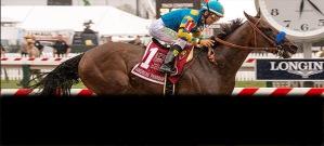 Jockey Victor Espinoza and American thoroughbred racehorse American Pharoah win the Preakness 2015.